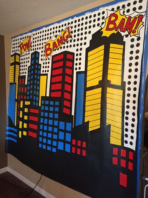 **Custom Orders ONLY - this is not ready to ship - Please contact me for a quote and design ideas for your party décor!***  Is it a bird? Is it a plane? Get ready to have the party of the year with this cityscape mural as your photo backdrop. This colorful cityscape is the perfect addition to your superhero party décor because it can be used for years to come after the party as a superhero cityscape mural!  This cityscape backdrop mural measures approximately 6 feet tall and 6 feet wide…