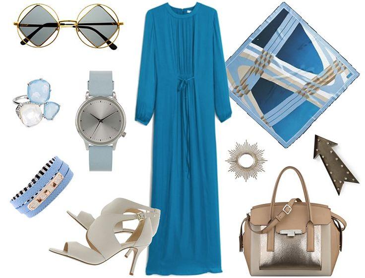Tesettür Kombin - Eşarp Modelleri ile Mavi Elbise Kombinleri http://www.yesiltopuklar.com/yazlik-elbiseler-ve-rengarenk-esarplar.html