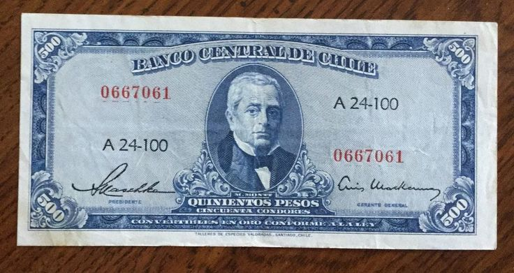 Chile, 500 Pesos, 1947-1959. Free Shipping.