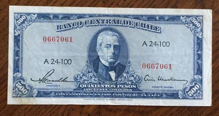 Chile, 500 Pesos, 1947-1959. Free Shipping.