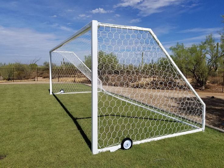 Newly installed Golden Goal 44 Elite-PB portable soccer goals manufactured by First Team in Hutchinson, KS. Wheels flip forward for easy transport, flip backwards for play. Sold and installed by John Hunt at AZ Hoops!