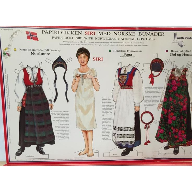 Siri, no.11, a paper doll with Norwegian National Costumes