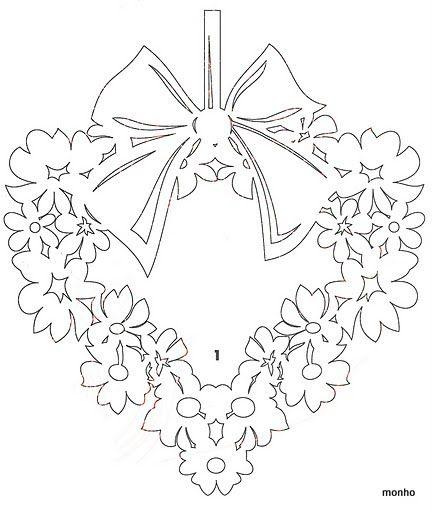 DIY: Floral wreath. Free Paper craft; stencil/template/pattern.