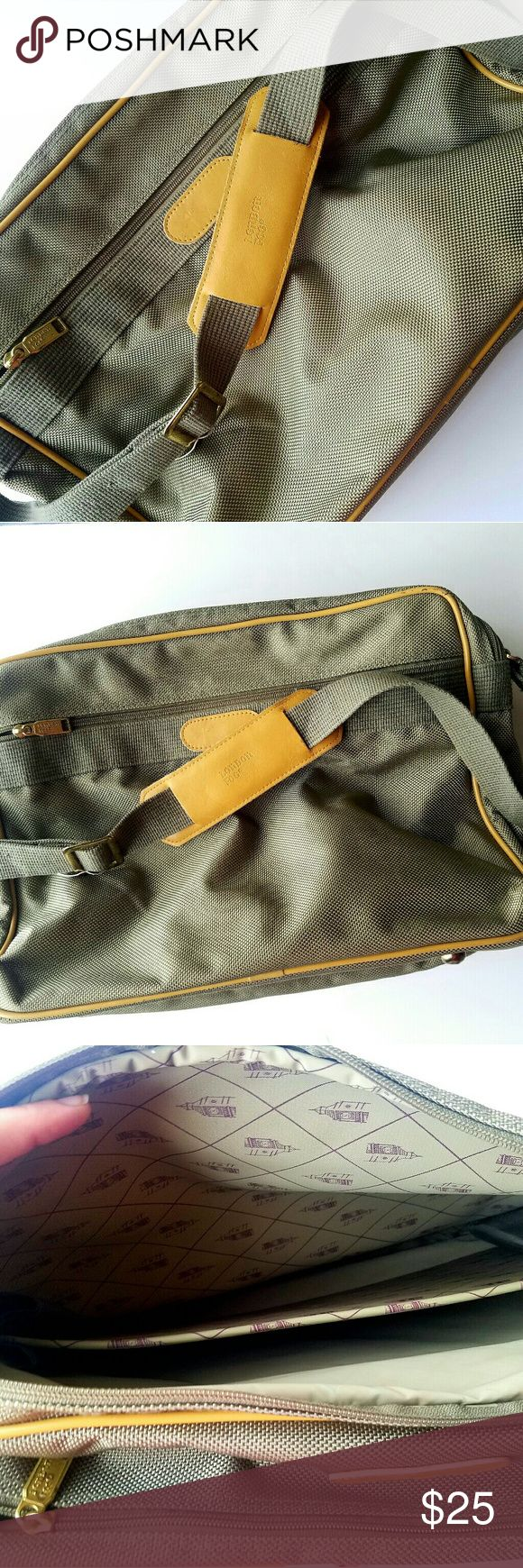 Vintage London Fog Laptop Carry Bag Excellent used condition. No flaws. Gold Accents. Olive Green Grayish Color. Light Brown Leather Accents. Adjustable Strap. London Fog Bags Laptop Bags