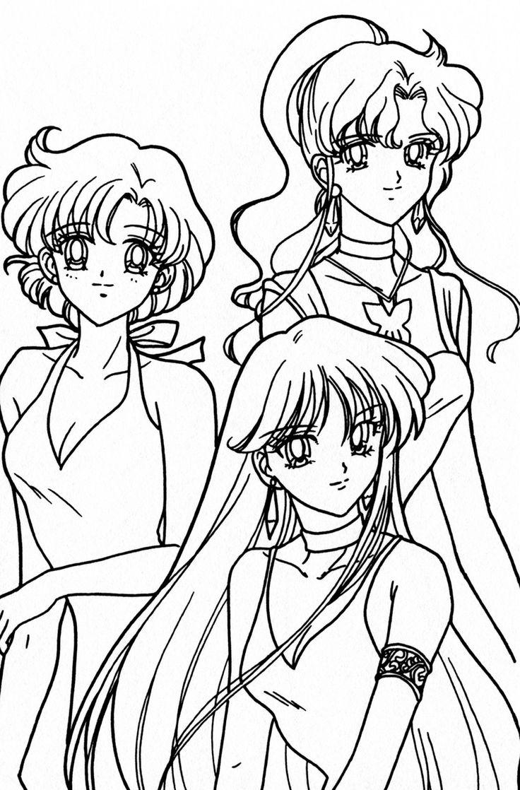 Sa sailor moon coloring games online - Ami Makoto And Rei Coloring Page Sailormoon