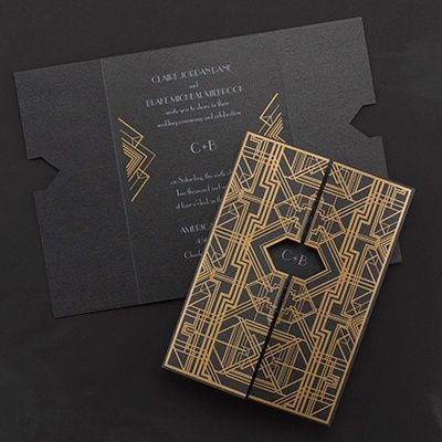 Savoy - Invitation from Carlson Craft - Item Number: RR13321 - An art deco design in gold foil is displayed on this black shimmer invitation. It's like great gatsby!!