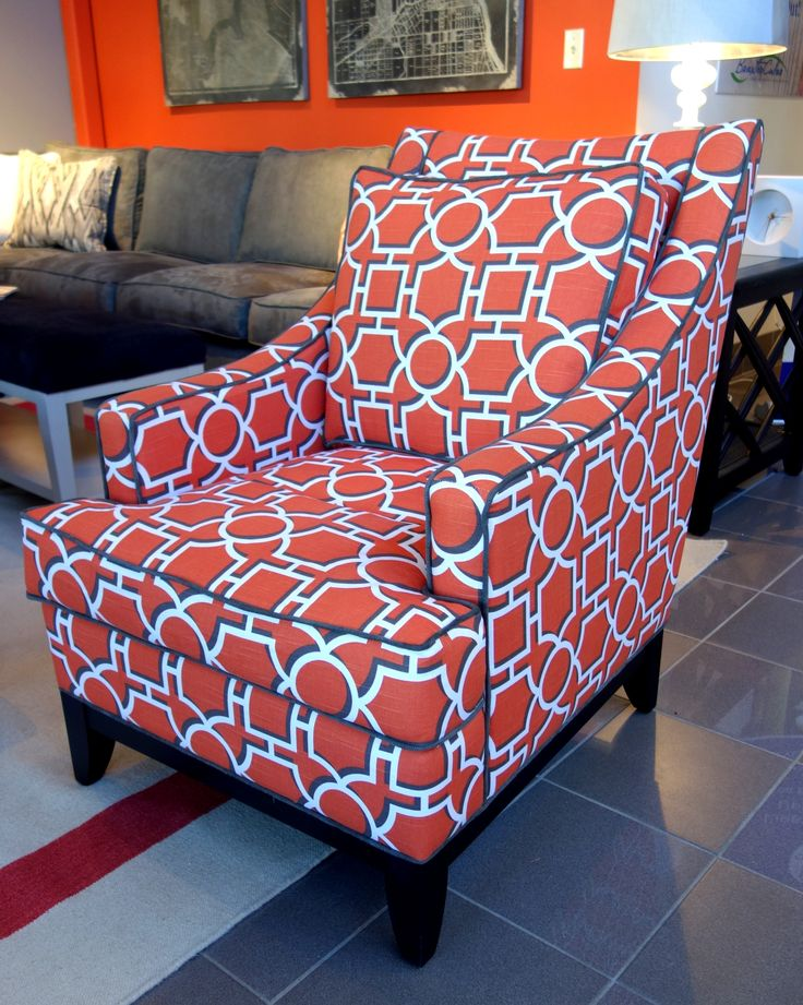 so excited lisa mende pinned my whitaker chair in geometric patterned orange and white fabric with trendy blue piping for braxton culler 310 s