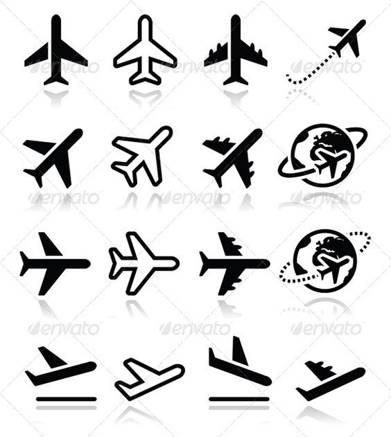 Airport Icons .This image is available on GraphicRiver. Vector black icons set of plane isolated on white FEATURES: 100% Vector Shapes All: More