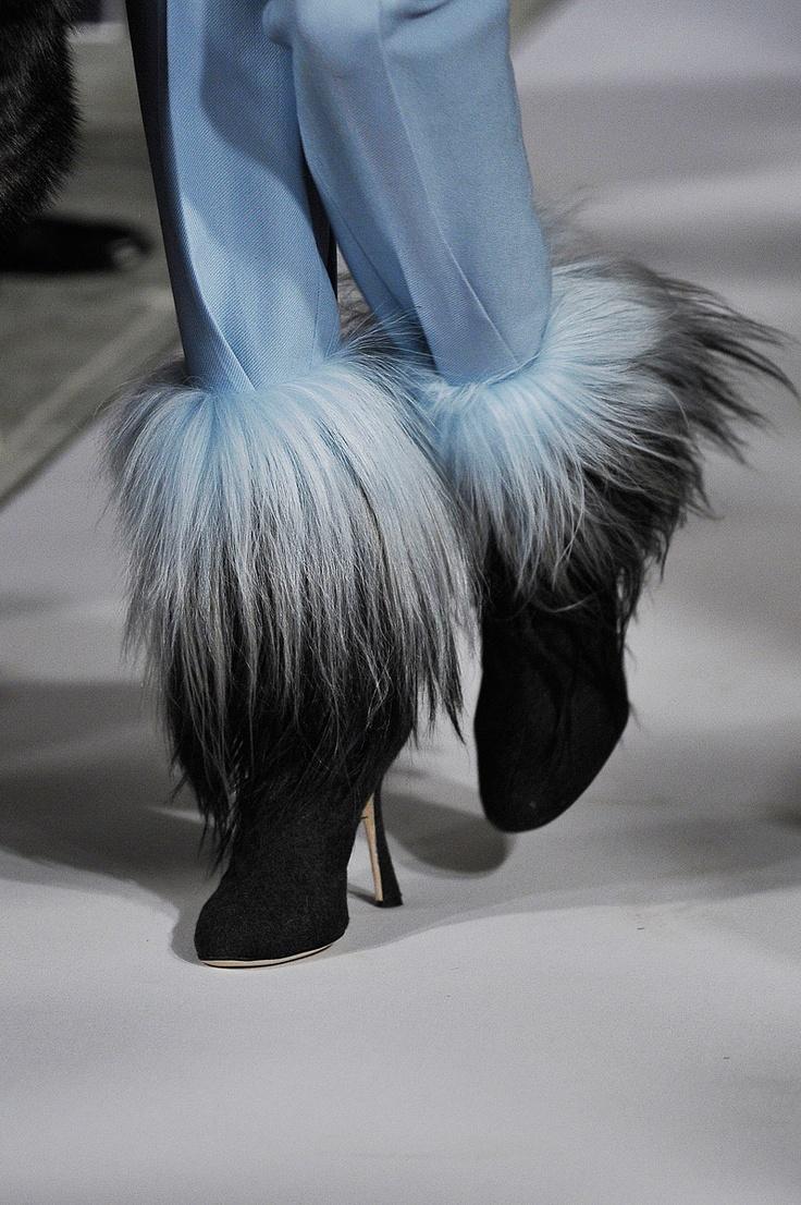 Black, grey and blue fur booties at the Oscar de la Renta Fall 2012 show