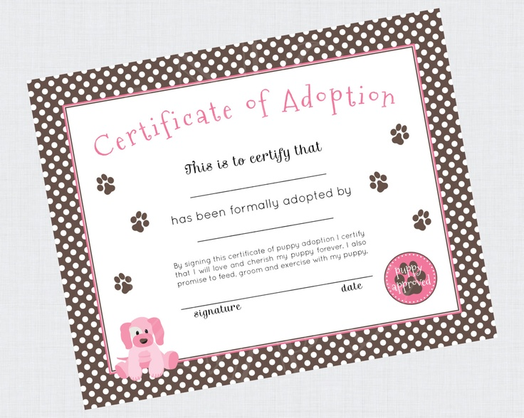 Instant download puppy paw ty collection printable 8x10 puppy adopti for Printable adoption certificate