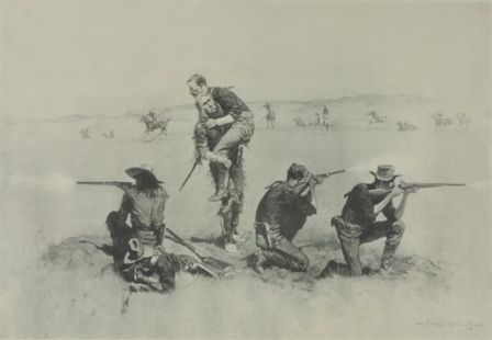 THE LAST STAND  Frederic Remington  Realized Price 720 USD  Dimensions: 22.5 X 15.5 in.  Lithograph  Signed  http://www.zaidan.ca/Art_Gallery/Auctions/13_08_10_Altermann_Galleries,_Santa_Fe_August_Auction.htm