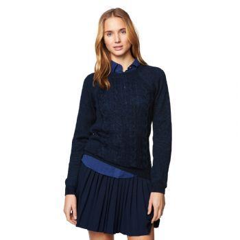 Gant Women's Linen Cable Jumper Evening Blue