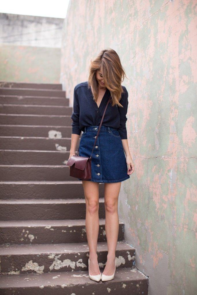 Saia jeans de botões