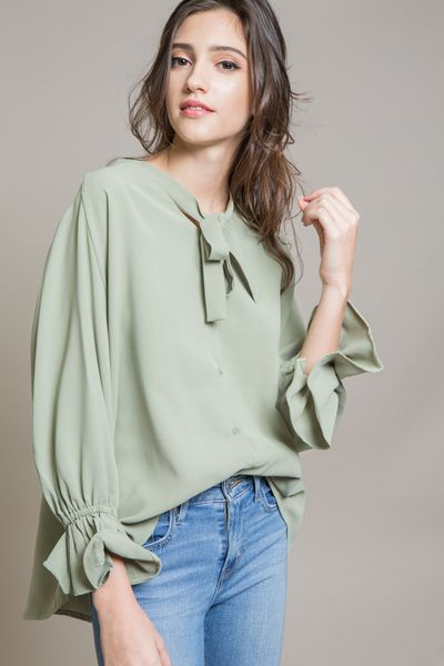 Liven Up Chiffon Blouse | Green $32// Light green loose fit chiffon blouse with a feminine touch.