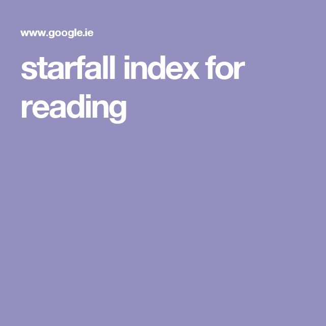 starfall index for reading