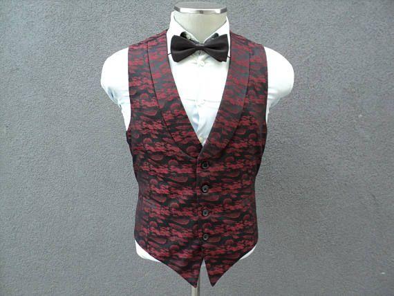 Unique Burgundy Lapel Vest / Mens Waistcoat 42 Large Lrg / Wedding / Mens Burgundy Waistcoat / Groom Vest / Groomsmen / Tuxedo Vest for Men