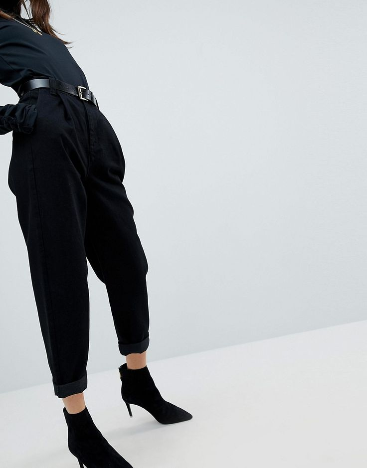 ASOS Tapered Jeans with Curved Seams and Belt In Clean Black - Black