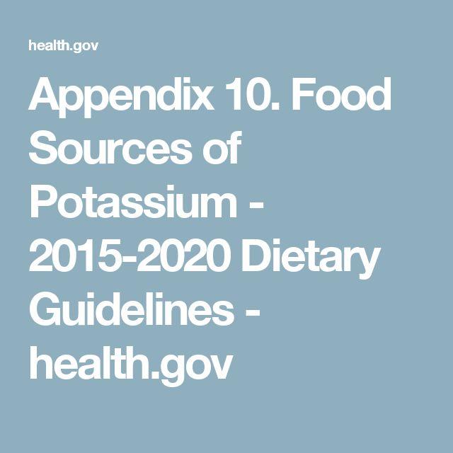 Appendix 10. Food Sources of Potassium - 2015-2020 Dietary Guidelines - health.gov