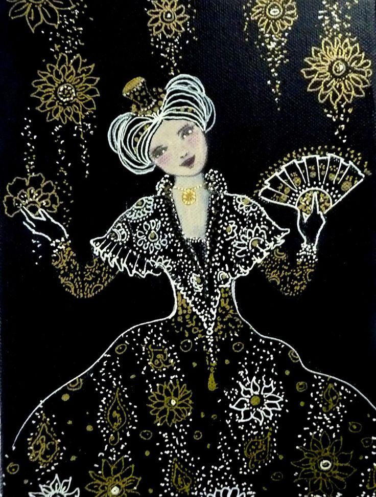 Tableau acrylique sur toile portrait de femme poetique for Tableau portrait noir et blanc