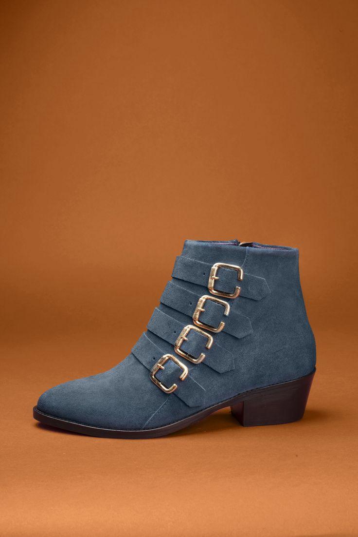 Sofia velours bleu pétrole #boots #bottines #vintage #shoes #anaki