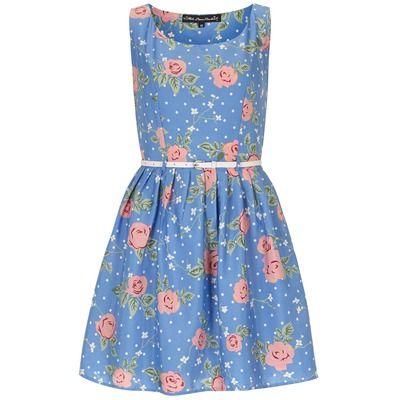 Dorothy Perkins Mela Blue Rose Print Prom Dress