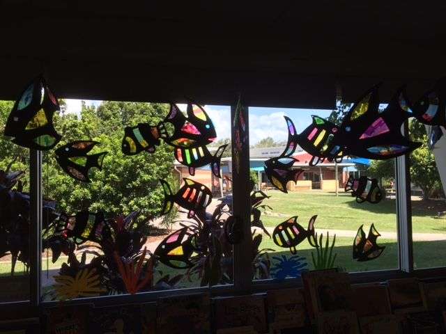 Leadlight fish display - made with cellophane