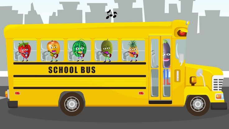 SCHOOL BUS Finger Family     Songs For Kids     fruits Animation for Chi...