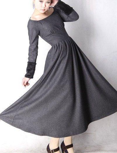 grauer wolle kleid winter maxi kleid mm62 trendige kleider kleid