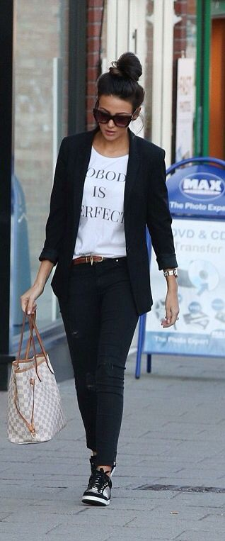 Michelle Keegan casual style in a Dead Legacy tee
