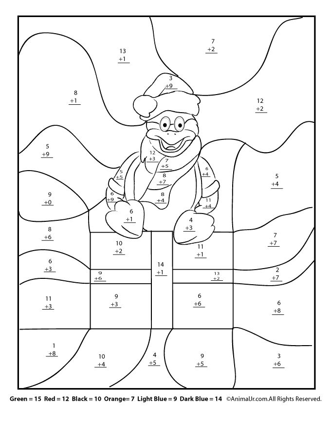 Christmas Math Worksheets – Addition and First-Then Logic Christmas Math Coloring Addition Worksheet – Animal Jr.