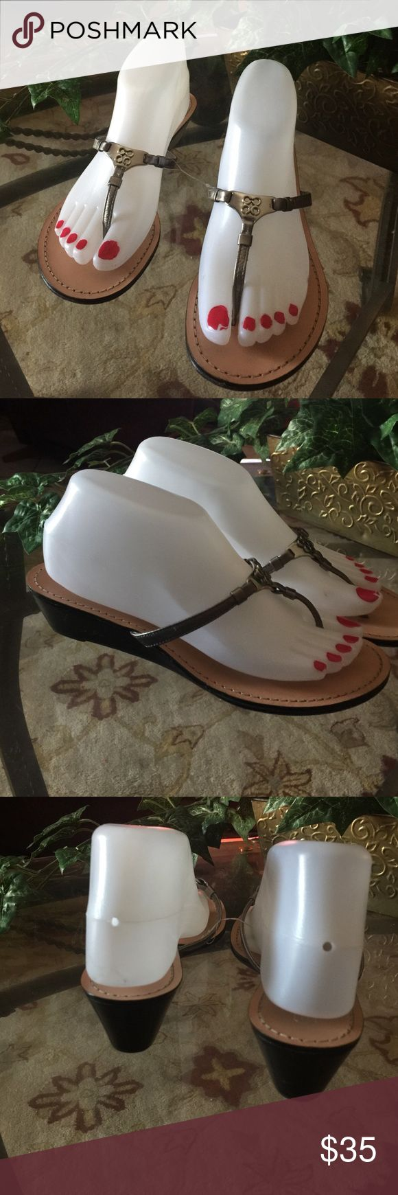 Coach pewter color size 7/2 In good condition size 71/2 Coach Shoes Sandals