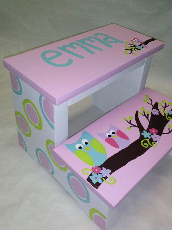 step stool owls and polka dots