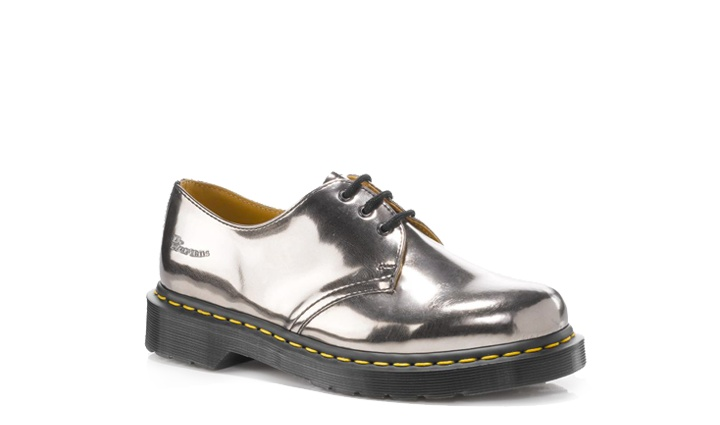 Dr Martens 1461 PEWTER KORAM FLASH $110 - I saw a woman wearing these, they're amazing.  They look like they're made of metal!