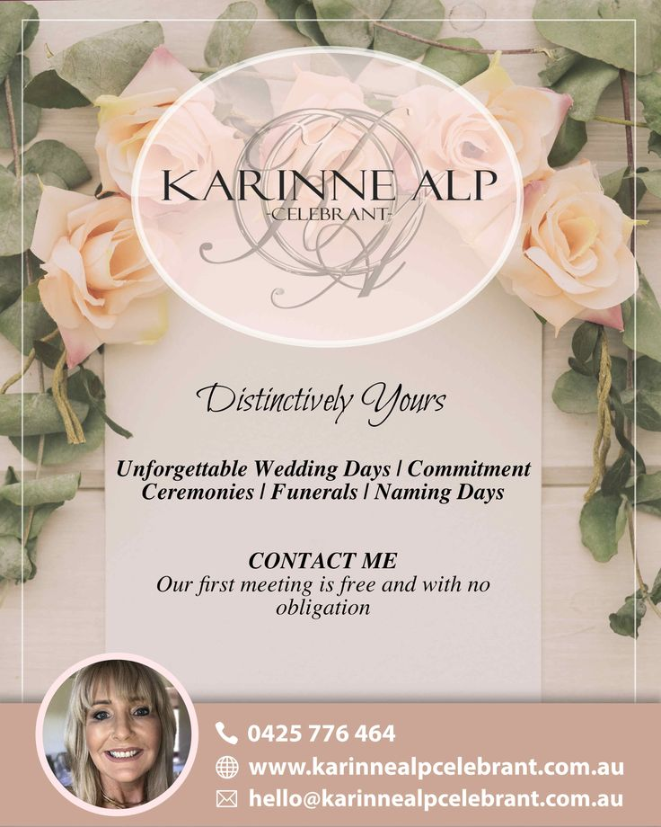 Looking for a #WeddingCelebrant for your special day? Get in touch with me! Let us meet to discuss how together, we can make your #ceremony #distinctivelyyours…  Our first meeting is free and with no obligation  #KarinneAlpCelebrant #MorningtonWeddingCelebrant #MelbourneWeddingCelebrant #WeddingCelebrant #BridesOf2017