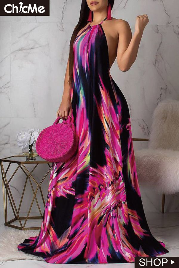 92f8dab62ae Halter Colorful Print Open Back Maxi Dress   Chic Me Dress in 2019 ...