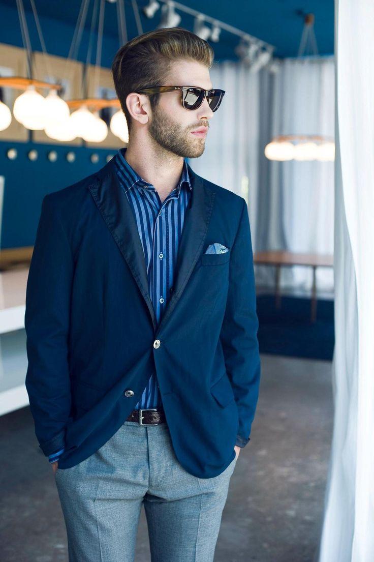 blazer, men's styleMen Clothing, Awesome Hair, Men Style, Men Fashion, Blazers, Ray-Ban Aviator, Blue Grey, Men Outfit, Style Fashion