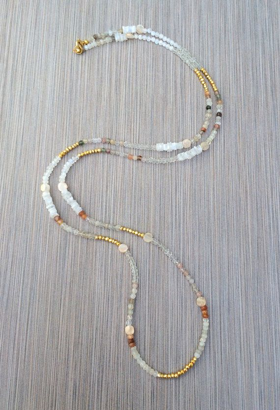 Boho Long Beaded Necklace - Moonstone Gold Pyrite Semi Precious Gemstone Layering Beadwork Necklace, Bohemian Necklace, Gift by loveandlulu