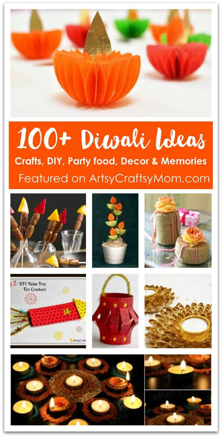100+ Diwali Ideas - Cards, Crafts, Decor, DIY and Party food Ideas. Diya, Party and home decor, Easy crafts for kids, Rangoli ideas and yum Party food. via @artsycraftsymom