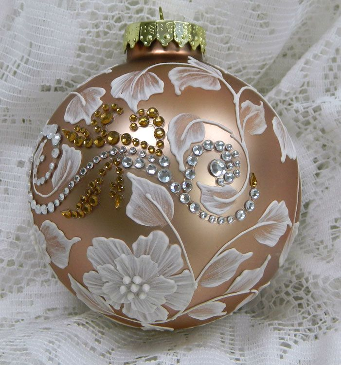 Soft Bronze MUD Floral Ornament with Motif Bling. $35.00, via Etsy.