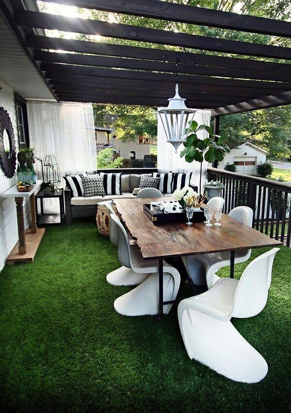 mit grasboden terrasse terrace green