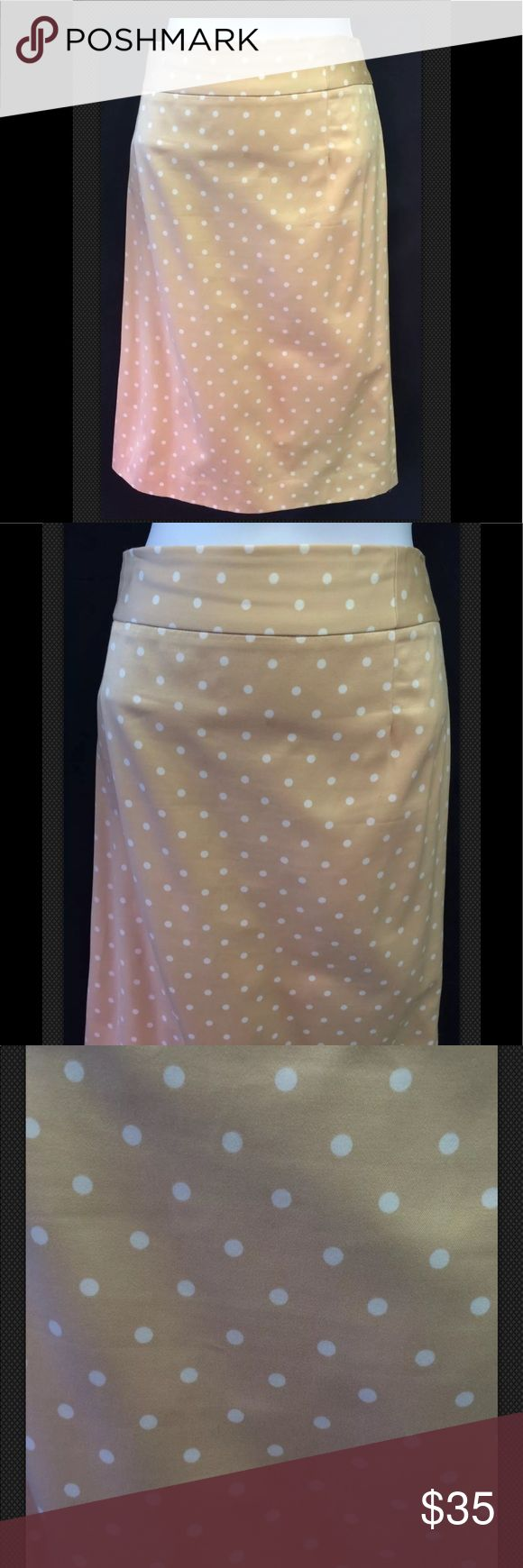 """J CREW Cha Cha Dot Cotton Pencil Straight Career Terrific J Crew polka dot pencil skirt has a champagne colored backround and Ivory dots, fully lined and 200% cotton.  Excellent for the office.   All measurements are taken while garment lays flat:  Waist 16"""" Hip 20"""" Length 23.25"""" Bin 77E  Please check measurements against a like item in your wardrobe. I take several measurements but if you'd like more please message me as I'm happy to get what you need. Colors are my best description and…"""