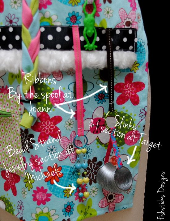The Busy Hands Fidget Apron Pattern & Tutorial | Fishsticks Designs Blog ... beads, or bead strand, a key chain, zippers, velcro, even a slinky.