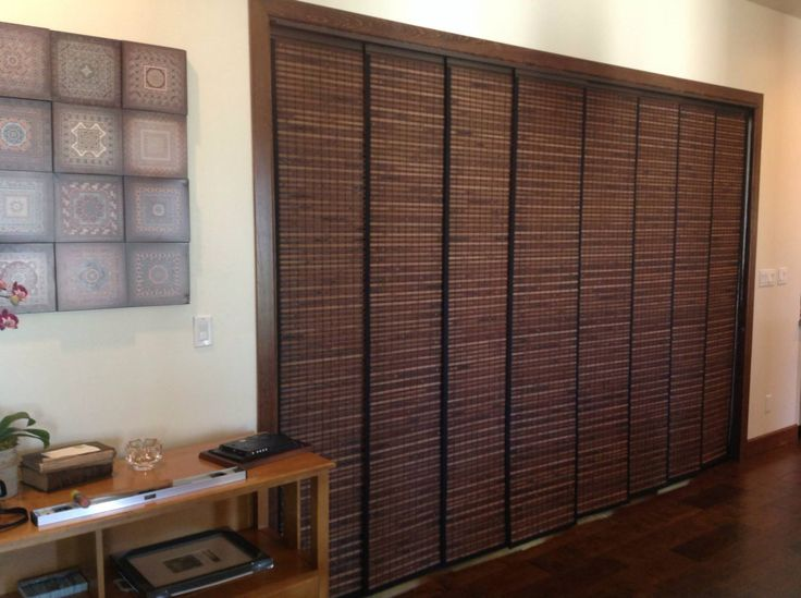 Woven Wood Sliding Panels Window Coverings Sliding