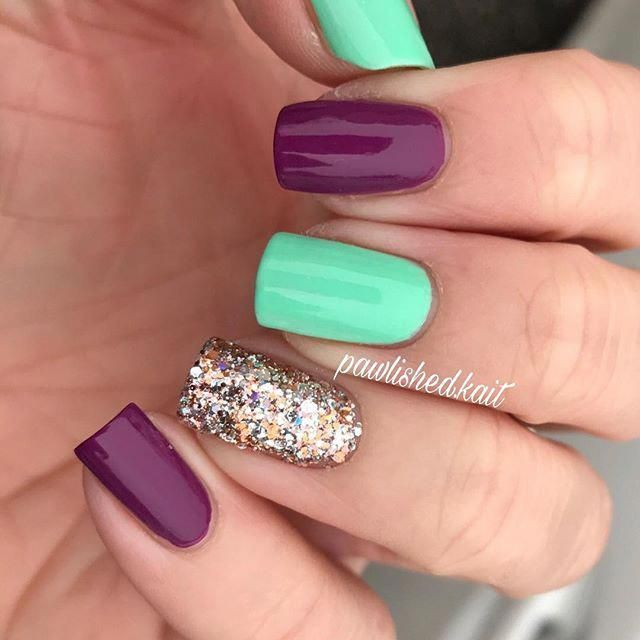 I M Really Digging This Colour Combo All Polishes Are From Kbshimmer Teal Is Water Your Digits Purple Is A W Teal Nails Turquoise Nails Aqua Nails