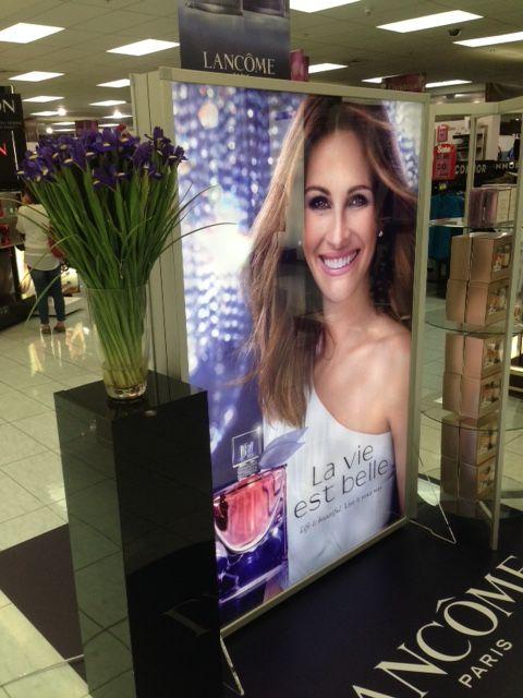 Lancome illuminated light box in mall.