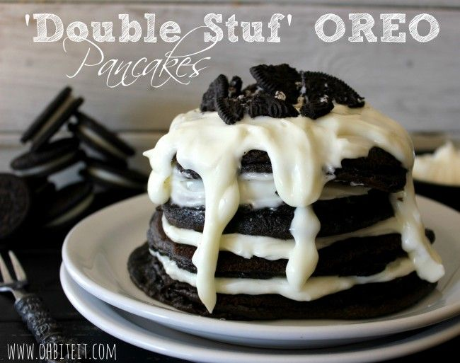 Double Stuf Oreo Pancakes - My eyes got wide when I saw this. There is something wrong when you are eating Oreos for breakfast. Remember that Oreo cereal they used to make? But they still sound like a fabulous idea. Maybe with orange food dye for Halloween.
