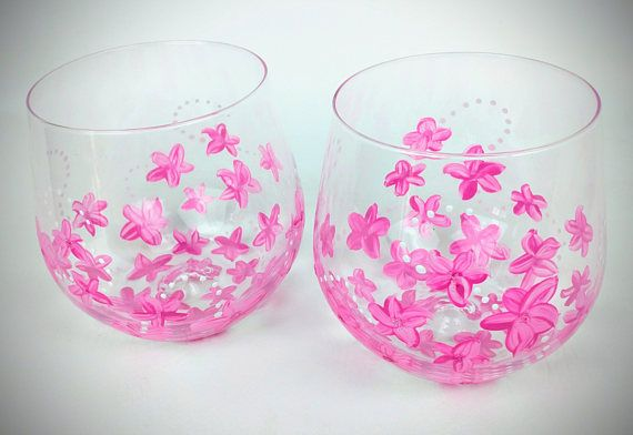 2 Pink flower stemless wine glasses, pink wine glasses, spring wine glasses, Hand Painted, pink glasses, spring theme, stemless wine glasses by jodistuff. Explore more products on http://jodistuff.etsy.com