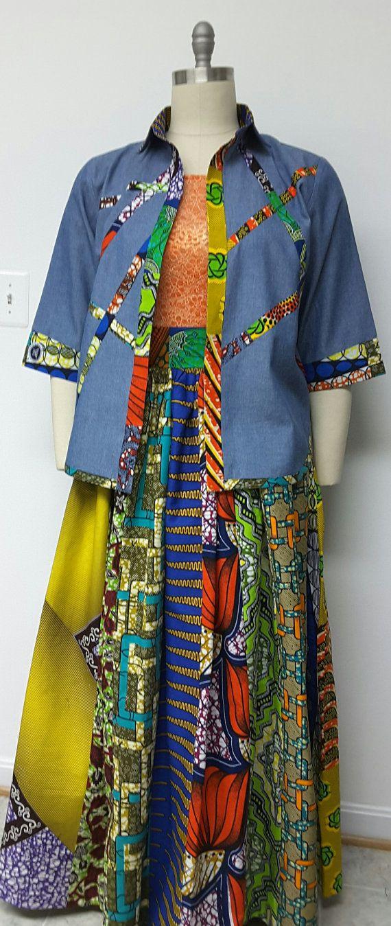 African Print Patchwork Maxi Skirt. Inside Pockets. Denim Shirt. Womens. Handmade. Womens Clothing.