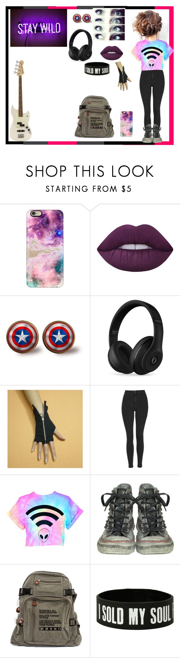 """""""Untitled #890"""" by thin-mint on Polyvore featuring Casetify, Lime Crime, Beats by Dr. Dre, Topshop, Converse and Hot Topic"""