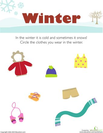 Worksheets: What Do You Wear in the Winter?
